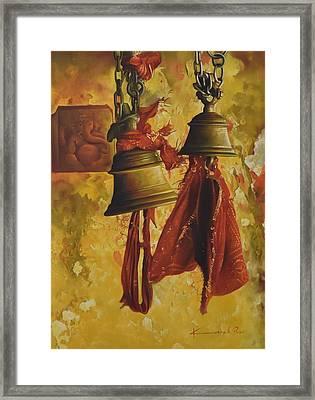 Bells And Ganesha Framed Print by Kamal  Rao