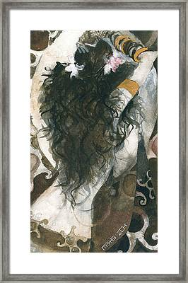 Belly Dancer And The Mirror Framed Print