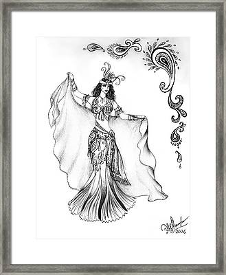 Belly Dancer With Veil. Friend Of Ameynra Framed Print