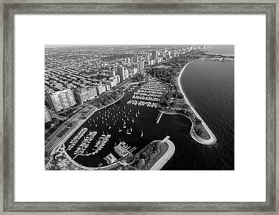 Belmont Harbor Chicago B W Framed Print by Steve Gadomski