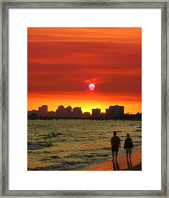 Belmont Shore Sunset Framed Print by Timothy Bulone