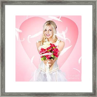 Beloved Flower Girl. Be My Valentine Framed Print