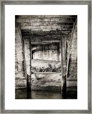 Below The Bridge Monochrome Framed Print