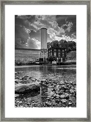 Below The Dam In Black And White Framed Print
