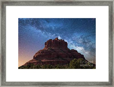 Below The Milky Way At Bell Rock Framed Print