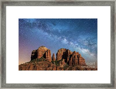 Below The Milky Way At Cathedral Rock Framed Print