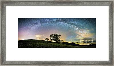 Below The Milky Way At The Blue Ridge Mountains Framed Print