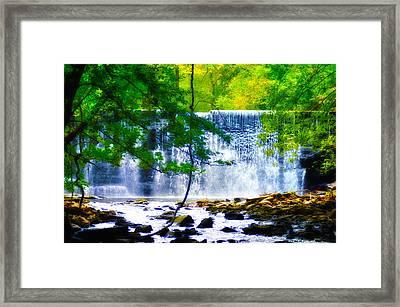 Below The Waterfall Framed Print
