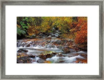 Below The Waterfall Framed Print