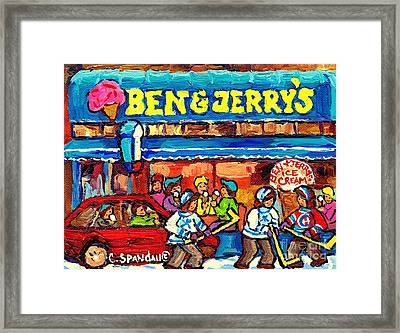 Ben And Jerry's Ice Cream Parlor Winter Hockey Scene Montreal Art Canadian Artist Carole Spandau     Framed Print by Carole Spandau