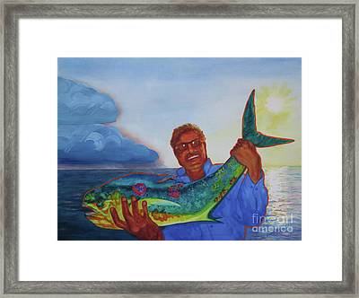 Ben And The Dolphin Fish Framed Print by Kathy Braud
