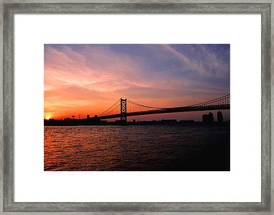 Ben Franklin Bridge Sunset Framed Print