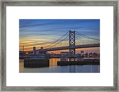 Ben Franklin Bridge Framed Print by Susan Candelario