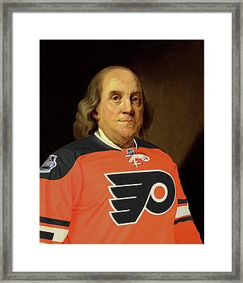 Ben Franklin In A Flyers Jersey Framed Print