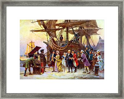 Ben Franklin Returns To Philadelphia Framed Print