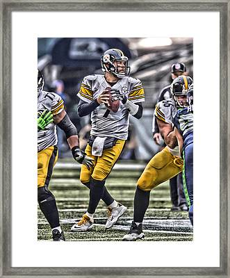 Ben Roethlisberger Pittsburgh Steelers Art Framed Print by Joe Hamilton