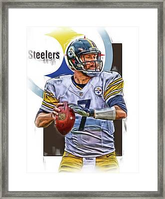 Ben Roethlisberger Pittsburgh Steelers Oil Art Framed Print by Joe Hamilton