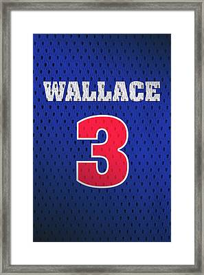 Ben Wallace Detroit Pistons Number 3 Retro Vintage Jersey Closeup Graphic Design Framed Print