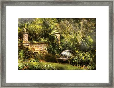 Bench - Edens Edge  Framed Print by Mike Savad