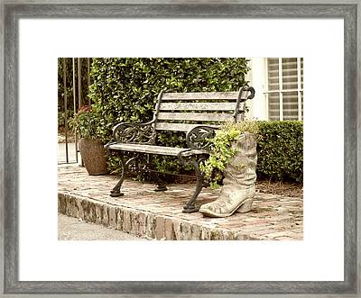 Bench And Boot 2 Framed Print