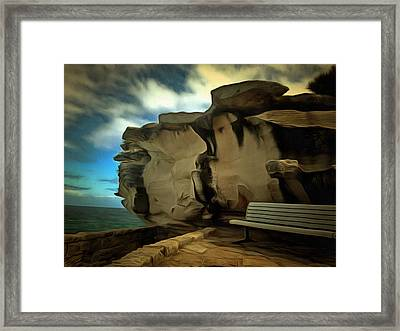 Bench And Huge Overhanging Rock Framed Print by Ashish Agarwal