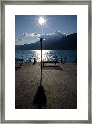 Bench And Street Lamp Framed Print
