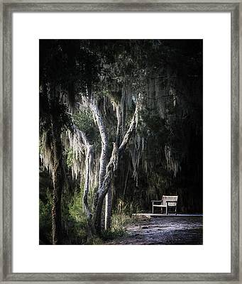 Bench At Sunset Framed Print by Chrystal Mimbs