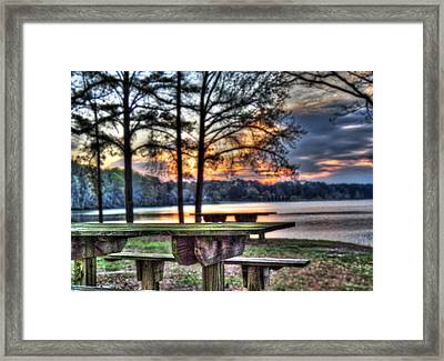 Bench By Lake Framed Print