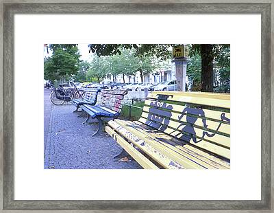 Bench Graffiti Framed Print