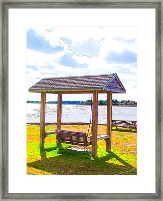 Bench In Nature By The Sea 1 Framed Print by Lanjee Chee