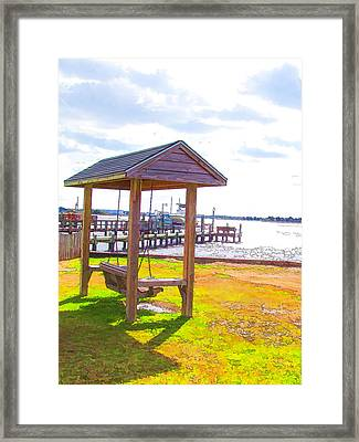 Bench In Nature By The Sea 2 Framed Print by Lanjee Chee