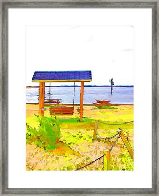 Bench In Nature By The Sea 3 Framed Print by Lanjee Chee
