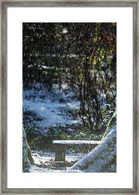Framed Print featuring the photograph Bench In Snow by Rebecca Cozart