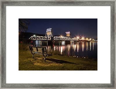 Bench In The Dark Framed Print by Brad Stinson