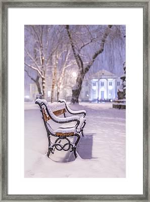 Framed Print featuring the photograph Bench by Jaroslaw Grudzinski