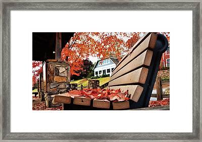 Bench Leaves Framed Print