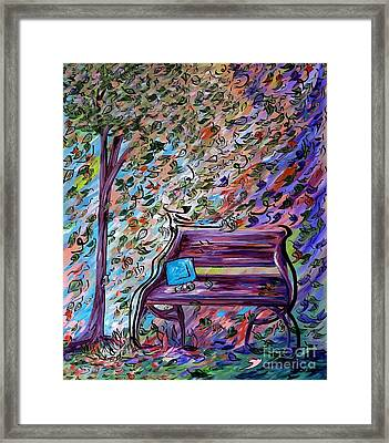 Bench On A Windy Day Framed Print by Eloise Schneider