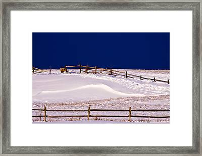 Framed Print featuring the photograph Bench On A Winter Hill by Don Nieman