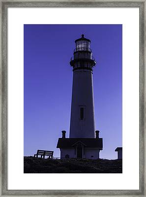 Bench Pigeon Point Light House Framed Print by Garry Gay