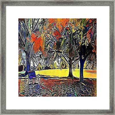 bench under the trees - My WWW vikinek-art.com Framed Print