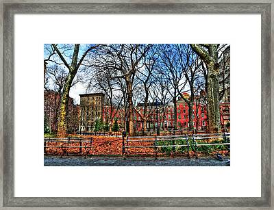 Bench View In Washington Square Park Framed Print