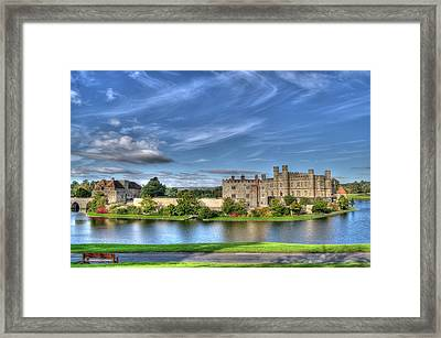 Bench View Of Leeds Castle Framed Print