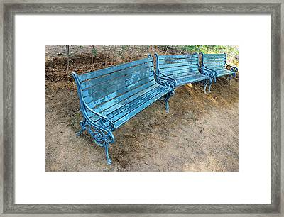 Framed Print featuring the photograph Benches And Blues by Prakash Ghai