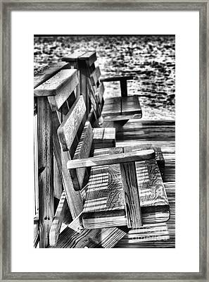 Benches By The Sea Framed Print