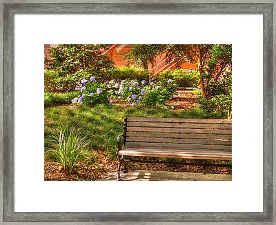 Benches Of Savannah Framed Print