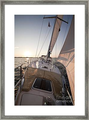 Beneteau 49 Sailing Yacht Close Hauled Charleston Sunset Sailboat Framed Print by Dustin K Ryan
