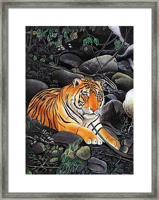 Bengal Tiger Wild Life Realistic Painting Miniature Watercolor Artwork Framed Print by A K Mundra