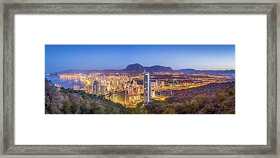 Framed Print featuring the photograph Benidorm At Sunrise, Spain. by Gary Gillette