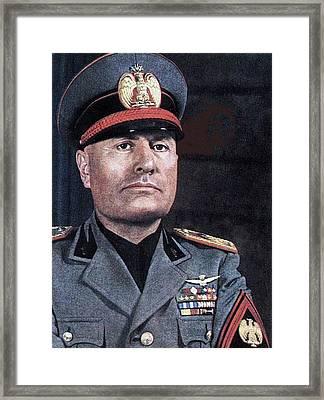 Benito Mussolini Color Portrait Circa 1935 Framed Print