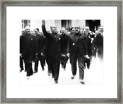 Benito Mussolini, Giving Crowds Facist Framed Print by Everett